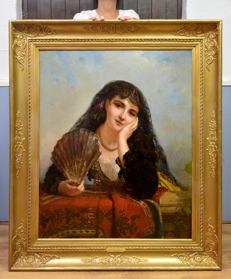 A Spanish Beauty - 19th Century French Portrait Oil Painting Young Gitana Girl For Sale 1