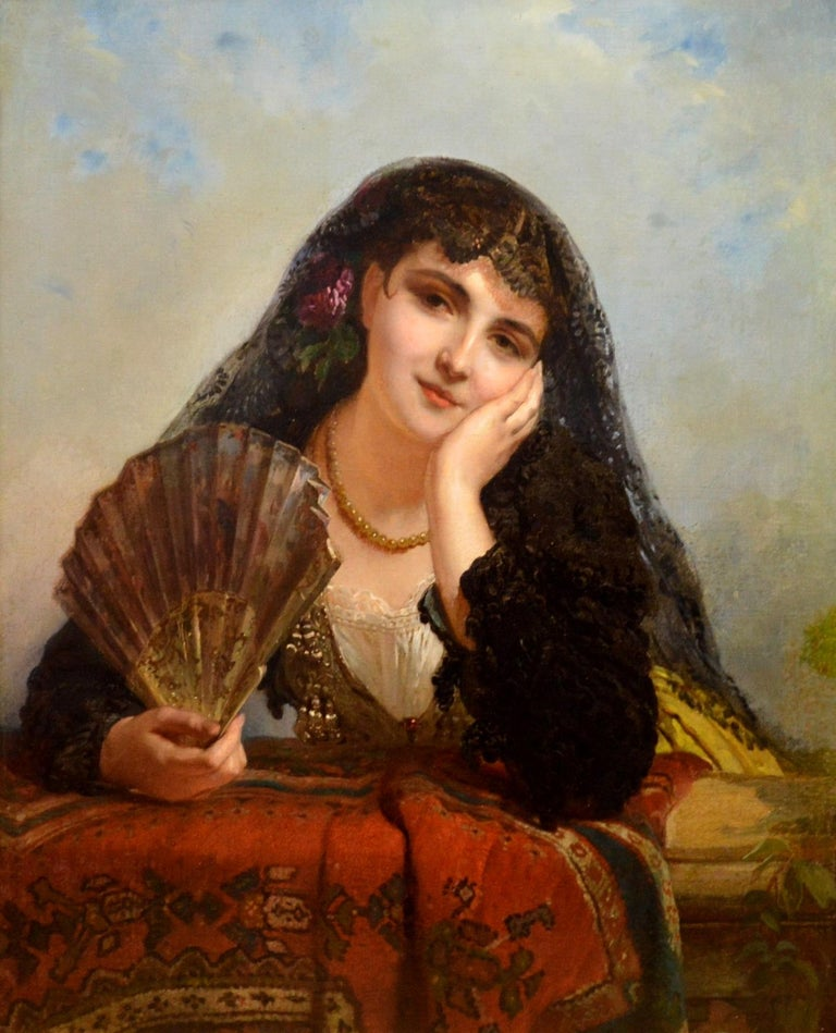 A Spanish Beauty - 19th Century French Portrait Oil Painting Young Gitana Girl For Sale 2