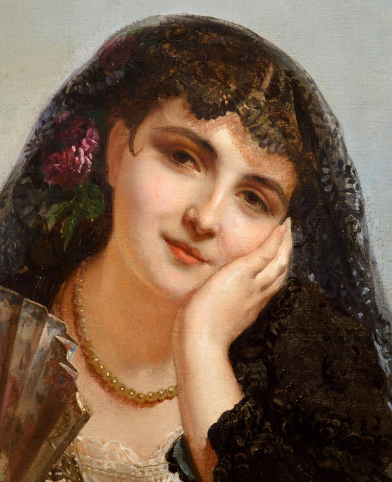 A Spanish Beauty - 19th Century French Portrait Oil Painting Young Gitana Girl For Sale 3