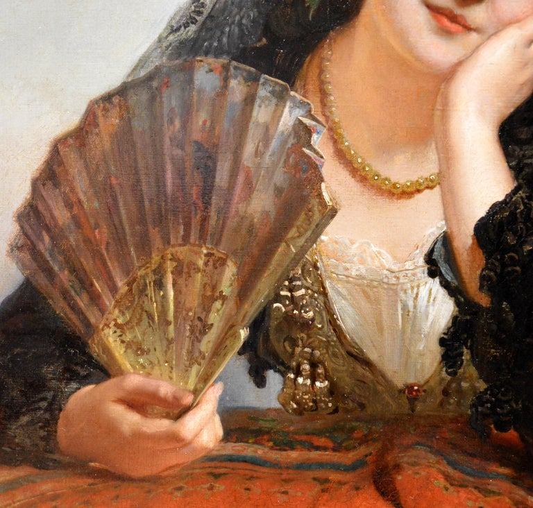 A Spanish Beauty - 19th Century French Portrait Oil Painting Young Gitana Girl For Sale 4