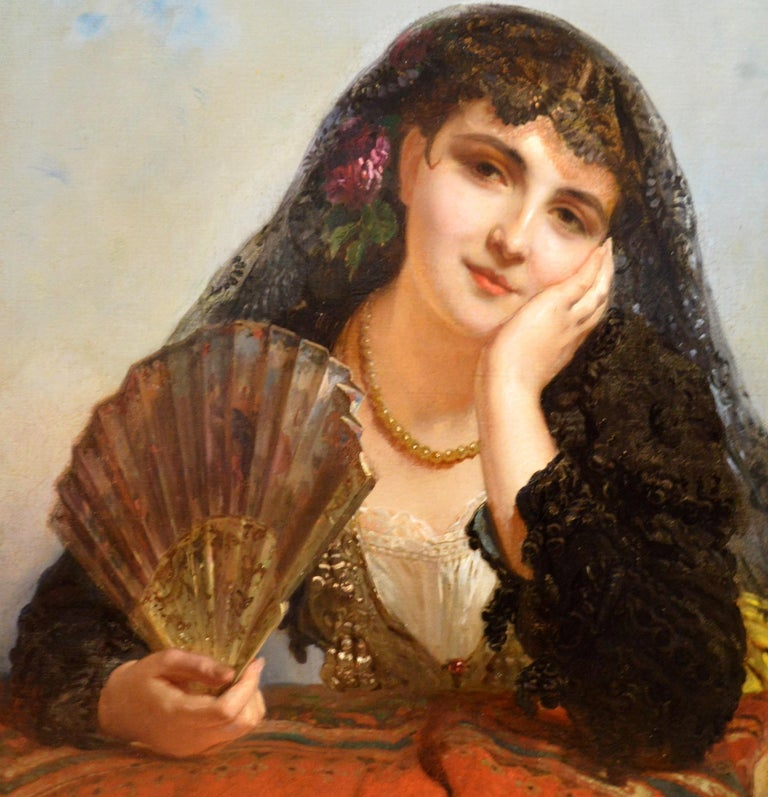 A Spanish Beauty - 19th Century French Portrait Oil Painting Young Gitana Girl For Sale 6