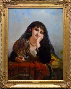 A Spanish Beauty - Large 19th Century French Portrait Oil Painting 1963