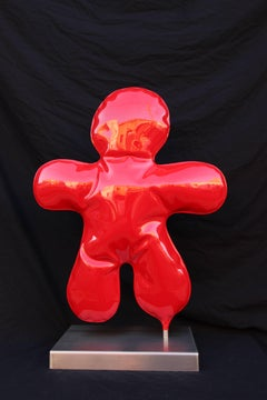 Petit Bonhomme red original unic steel contemporary sculpture