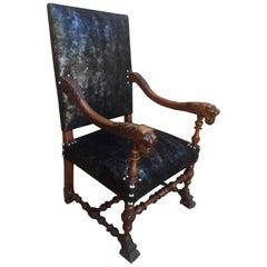 Henri II Style Armchair Fully Upholstered, Lion's Head Armrest