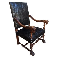 Henri II Style Armchair Fully Upholstered Lion's Head Armrest