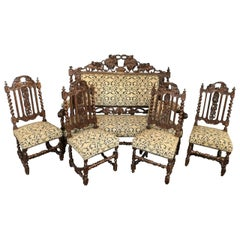 Henri II Style Living Room Set Sofa and Chairs, 19th Century, France