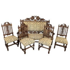 Henri II Style Living Room Set Sofa and Chairs, France
