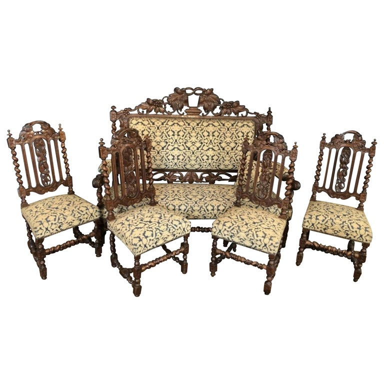 Henri II Style Living Room Set Sofa and Chairs, France For Sale