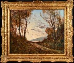 Bords de rivière à Saint-Privé - Barbizon Oil, Autumn Landsape by H Harpignies