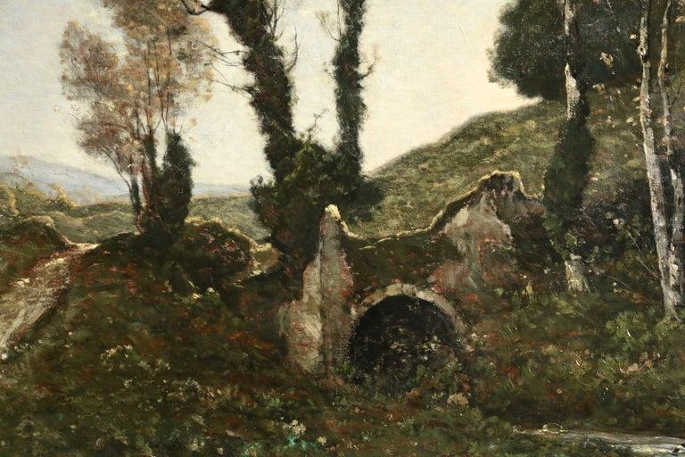 Sous Bois au Soleil Couchant - 19th Century Oil, Landscape by Henri Harpignies - Painting by Henri Joseph Harpignies