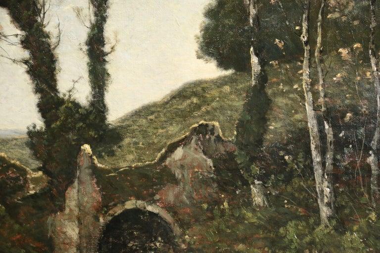 Sous Bois au Soleil Couchant - 19th Century Oil, Landscape by Henri Harpignies - Barbizon School Painting by Henri Joseph Harpignies