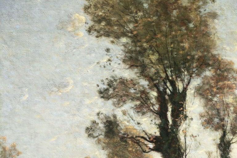Sous Bois au Soleil Couchant - 19th Century Oil, Landscape by Henri Harpignies - Black Landscape Painting by Henri Joseph Harpignies