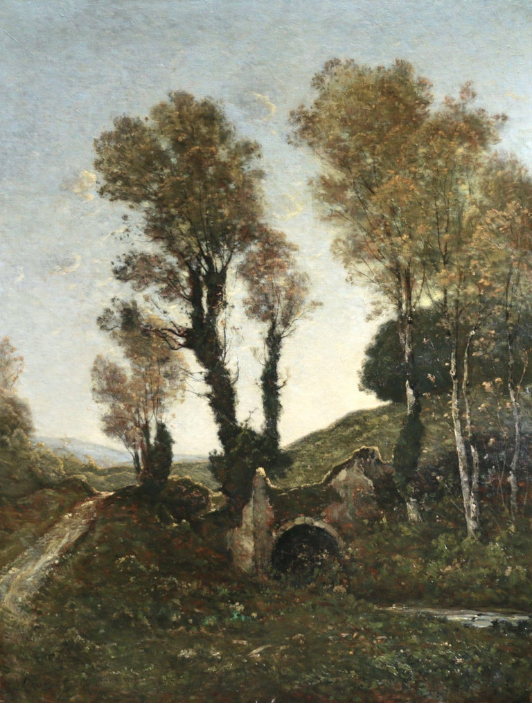 Henri Joseph Harpignies Landscape Painting - Sous Bois au Soleil Couchant - 19th Century Oil, Landscape by Henri Harpignies