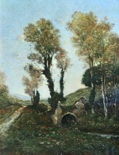 Sous bois au soleil couchant - Barbizon Oil, Stream in Landscape by Harpignies