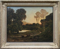 Sunset Landscape- French 19th century Barbizon art river landscape oil painting