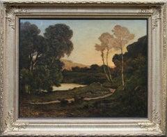 Sunset Landscape- French 19th century Barbizon art river landscape oil painting