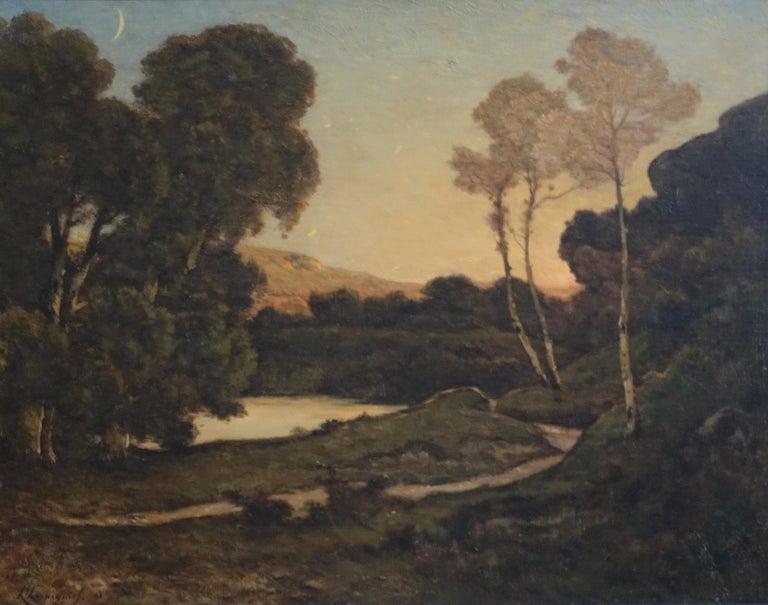 Sunset Landscape - French 19thC Barbizon landscape river nocturne oil painting  - Painting by Henri Joseph Harpignies