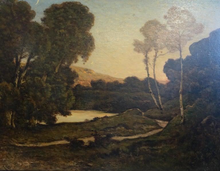 Sunset Landscape - French 19thC Barbizon landscape river nocturne oil painting  - Black Landscape Painting by Henri Joseph Harpignies