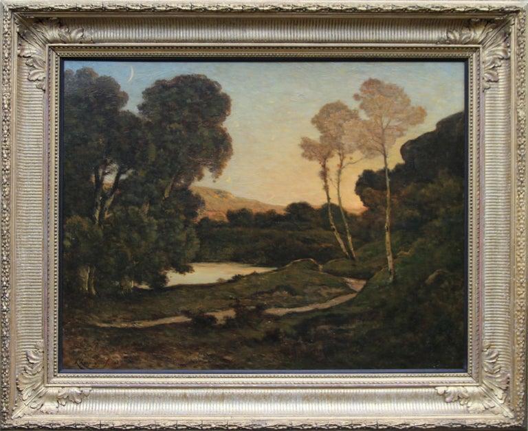 Sunset Landscape - French 19thC Barbizon landscape river nocturne oil painting  For Sale 1