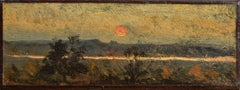 Sunset on the sea of sand, an oil on linen sketch by Henri-Joseph Harpignies