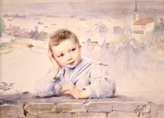 A Young Boy - Impressionist Watercolor, Portrait by Henri Jules Jean Geoffroy
