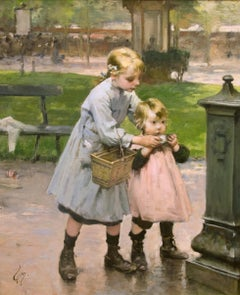 Genre Scene of Children at a Park Fountain by Henri Jules Geoffroy