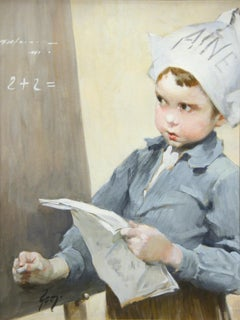 "Genre Scene of School Boy by Henri J. Geoffroy titled ""Solving the Problem"""