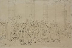 Pen and Ink school scene by Henri J. Geoffroy