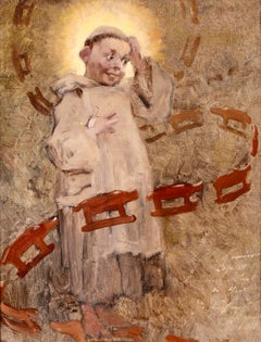 The Young Monk - Impressionist Oil, Portrait of Monk - Henri Jules Jean Geoffroy