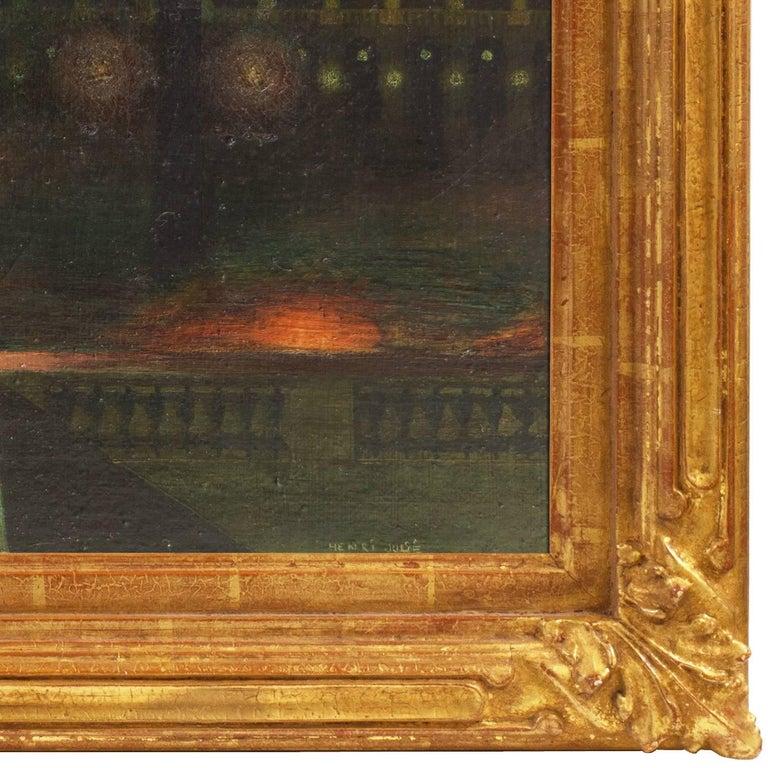 Place de la Concorde   (Paris, Symbolism, Modernism, framed, green, yellow, red) - Brown Landscape Painting by Henri Julie