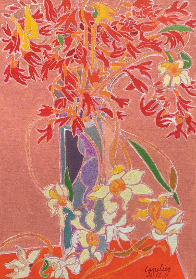 Henri Landier Still-Life Painting - Freesias et Narcisses au Vase Bleu