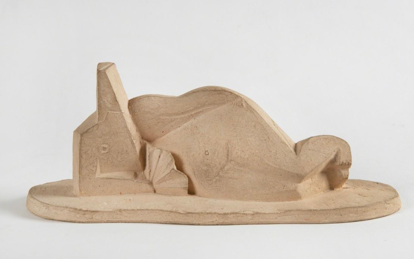 Femme couchée à l'éventail, Henri Laurens, 1920's, Terracotta, Sculpture, Cubism