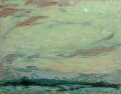 Clair de Lune - Gerberoy - Impressionist Oil, Moonlit Landscape by H Le Sidaner