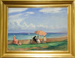Early 20th Century Impressionist painting, Beach Parasol