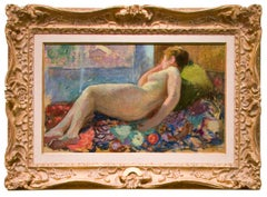 Early 20th Century Impressionist painting, Nude on Divan