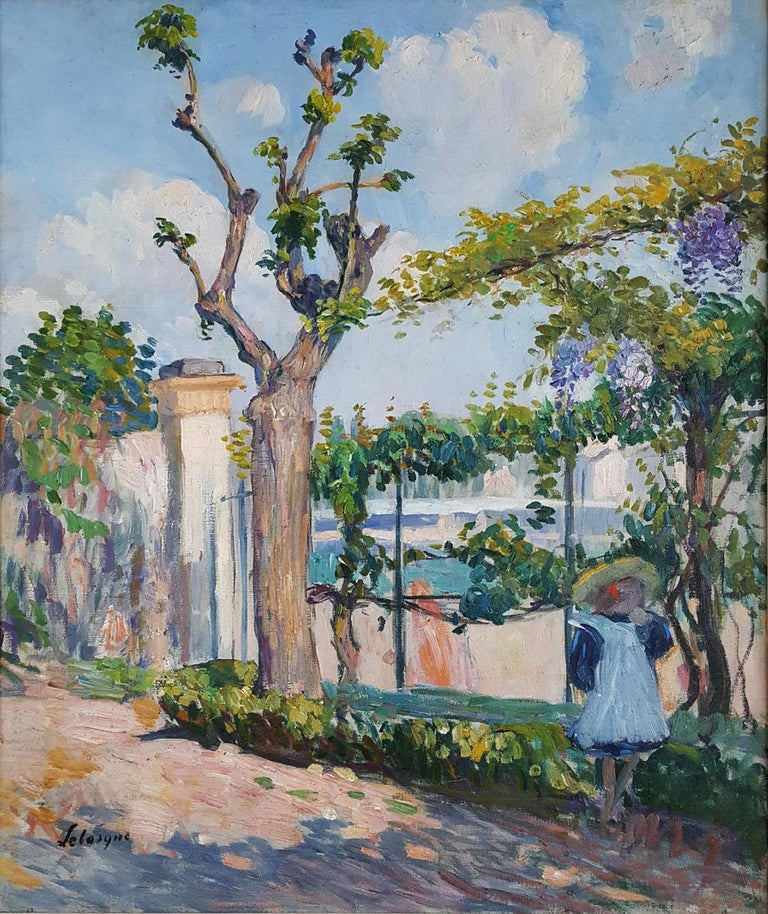 Le Jardin de Lagny - Garden with young girl - Painting by Henri Lebasque