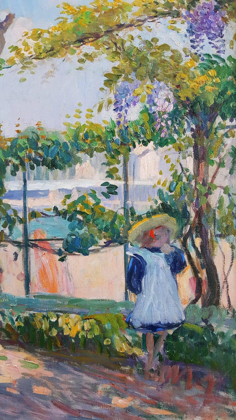 Le Jardin de Lagny - Garden with young girl - Gray Landscape Painting by Henri Lebasque