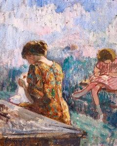 Seamstresses - Post Impressionist Divisionist Oil, Women Sewing - Henri Lebasque