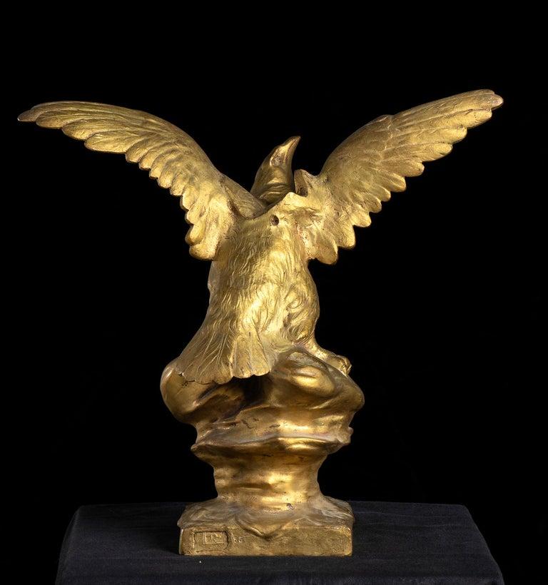 Bronze Sculpture of Eagle as Jupiter By Henri Levasseur Signed  For Sale 3