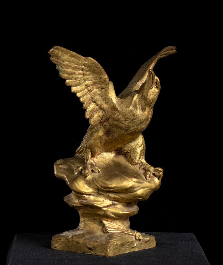 Bronze Sculpture of Eagle as Jupiter By Henri Levasseur Signed  For Sale 5