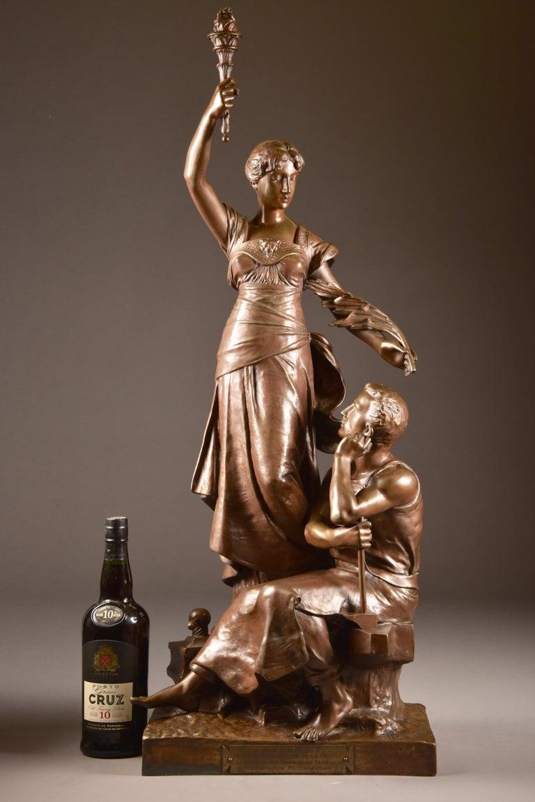 Monumental bronze double sculpture by H. Levasseur, entitled