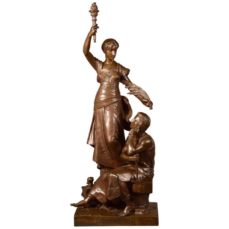 """Henri Louis Levasseur, Bronze Sculpture """"Gloire Au Travail"""", 1870 For Sale"""
