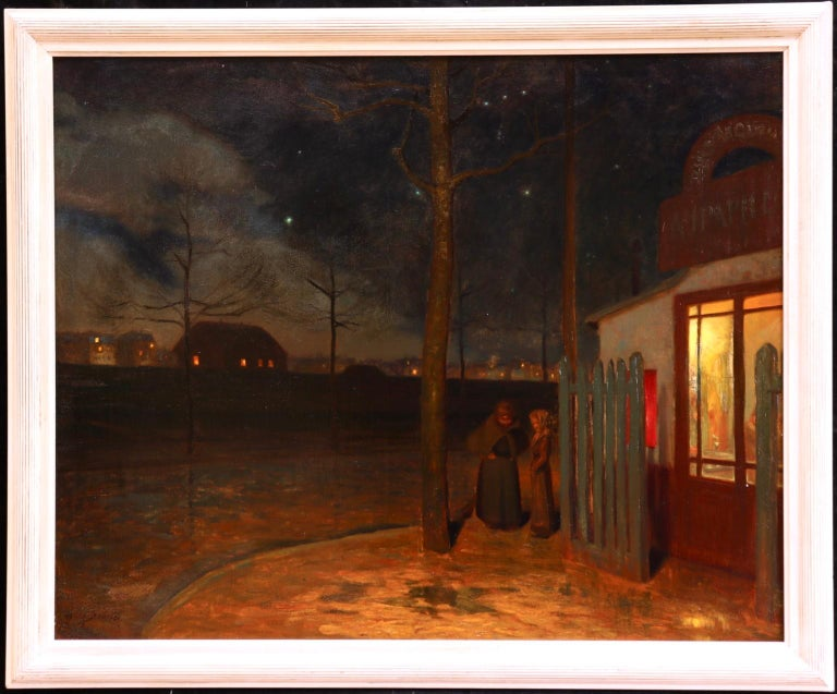 Night outside the cafe - 19th Century Oil, Figures in Night Landscape - H Bouvet - Painting by Henri Marius Camille Bouvet