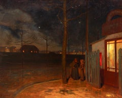 Night outside the cafe - 19th Century Oil, Figures in Night Landscape - H Bouvet