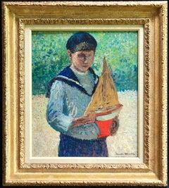 Jeune garçon avec voilier-Jardins du Luxembourg - Pointillist Oil - Henri Martin