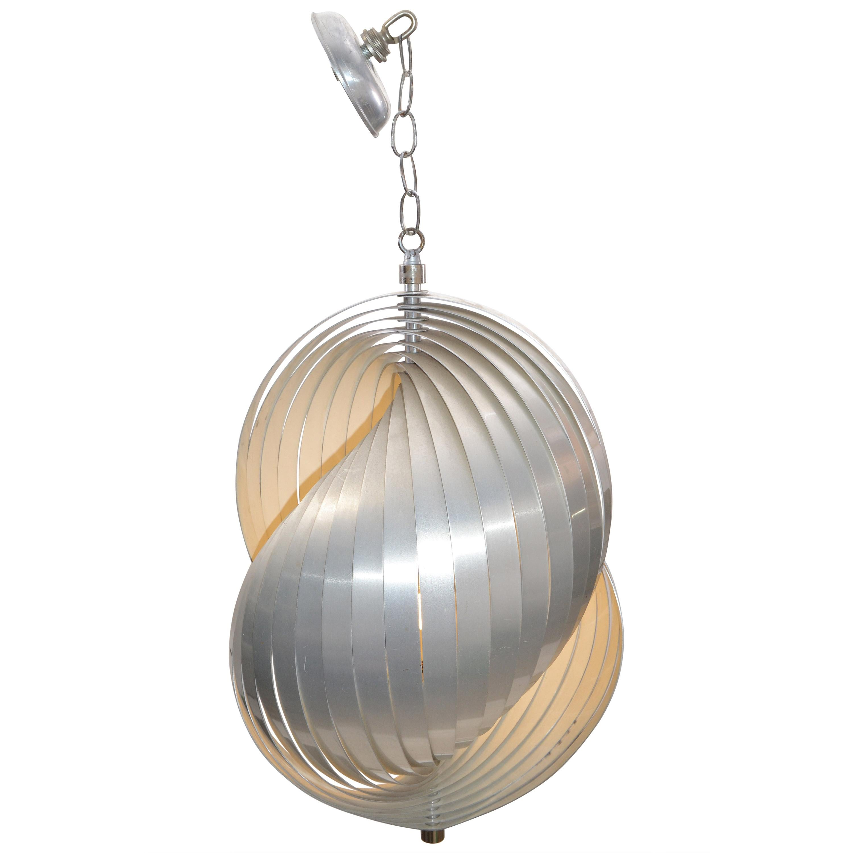 Henri Mathieu Aluminum Pendant Light Chandelier Mid-Century Modern France, 1960s