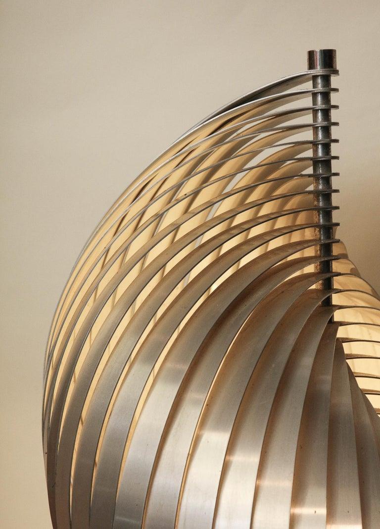 Henri Mathieu Table Lamp Mid-Century Modern Sculptural Aluminum Bands For Sale 5