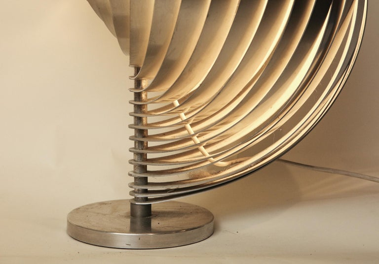 Henri Mathieu Table Lamp Mid-Century Modern Sculptural Aluminum Bands For Sale 6