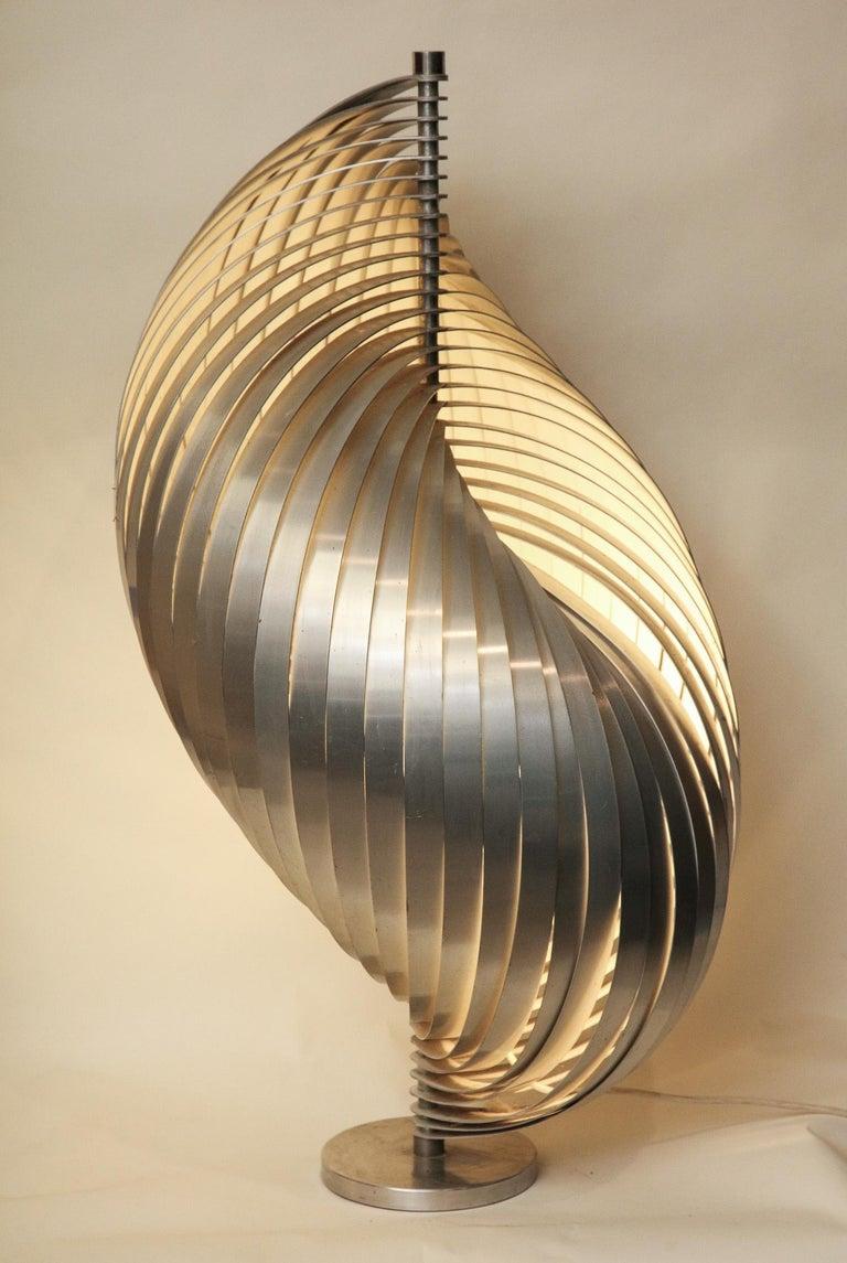 Henri Mathieu Table Lamp Mid-Century Modern Sculptural Aluminum Bands For Sale 7
