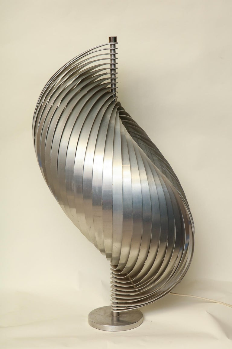 Henri Mathieu Table Lamp Mid-Century Modern Sculptural Aluminum Bands For Sale 1